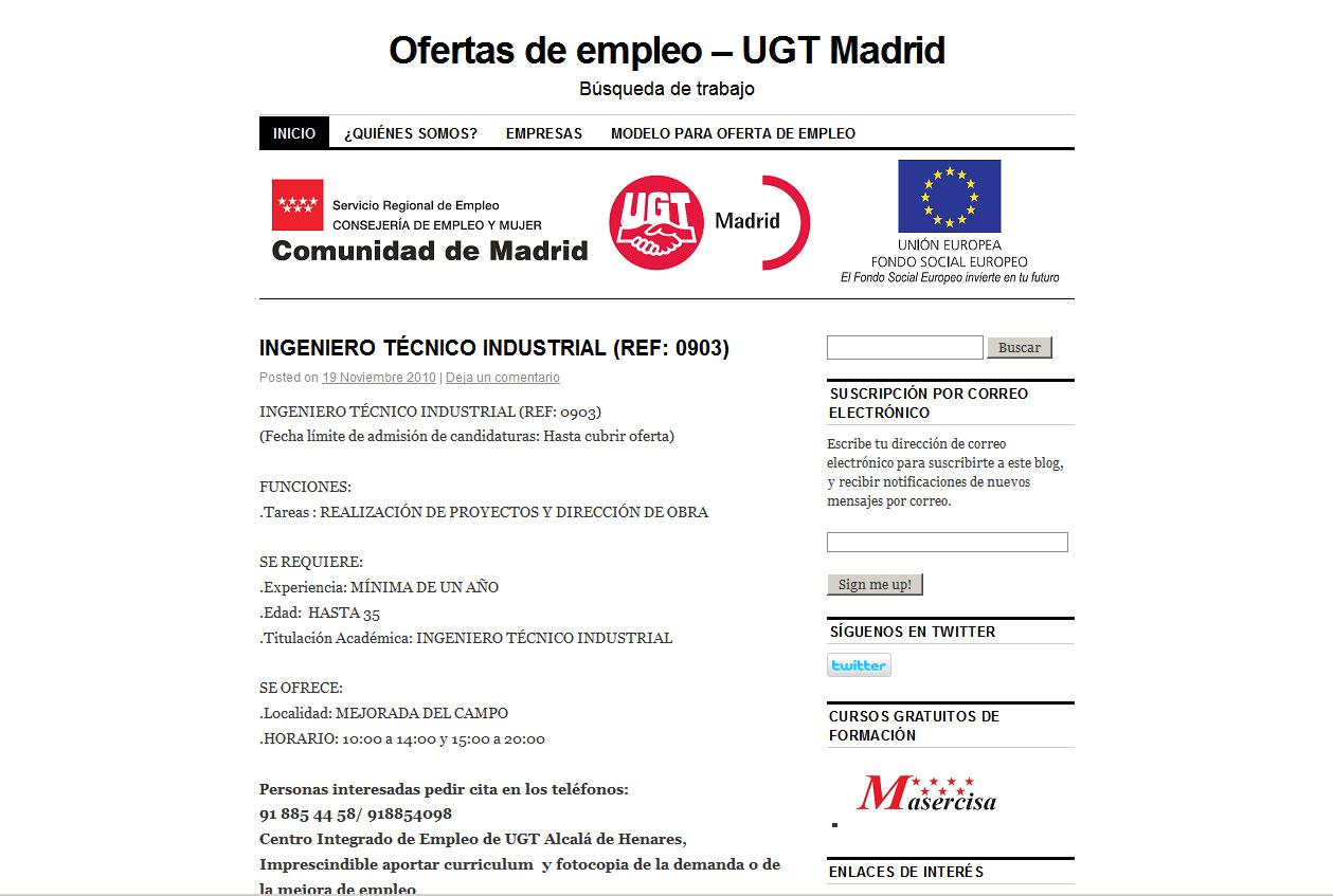 Ofertas empleo ugt comunicaciones madrid for Ofertas empleo madrid